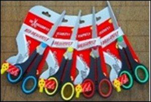 Ножницы 14 см. пластиковые ручки, европодвес