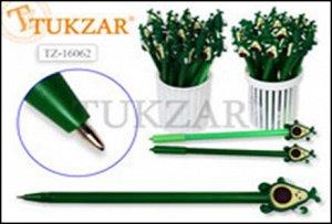 Ручка шариковая с игрушкой-насадкой ВЕСЕЛЫЙ АВОКАДО, цв.чернил - синий 0,7мм,  цвета корпуса в ассортименте, в стакане-подстав. Производство Россия.