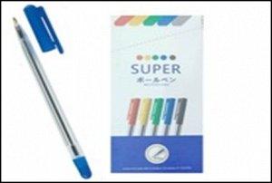 Ручка шариковая, цвет чернил СИНИЙ, 0,7мм. прозрачный корпус, синий колп.