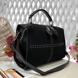 Стильная сумка-саквояж Amaretto с ремнем через плечо из качественной эко-кожи и искусственной замши чёрного цвета.