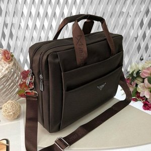 Мужская сумка Pur Homme А4 из плотного текстиля кофейного цвета.
