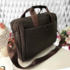 Мужская сумка X-Homme А4 из плотного текстиля кофейного цвета.