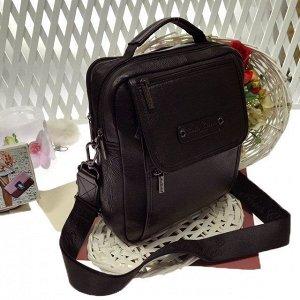 Мужская сумка Ariel Gobie формата А5 из мягкой натуральной кожи с ремнем через плечо кофейного цвета.