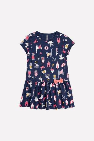 Платье(Весна-Лето)+girls (темно-синий, морские приключения к283)