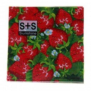 Салфетки бумажные, набор 20 шт., 33х33 см, клубничка