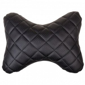 Подушка на подголовник Skyway экокожа, черная, строчка черная