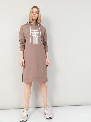 Платье из футера с капюшоном, Платье 211103-4535