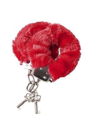 Красные меховые наручники с металлическим крепежом