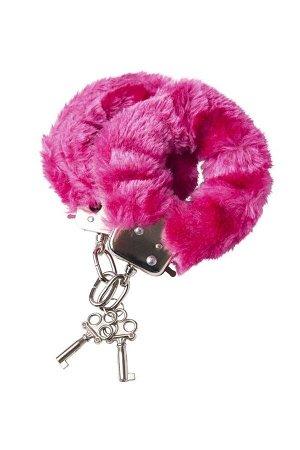 Розовые меховые наручники с металлическим крепежом