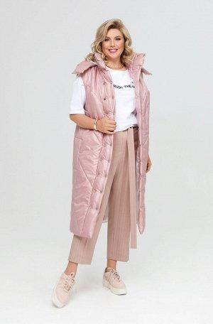 Весна Удлиненная женская жилетка прямого силуэта, выполненная из плащевой ткани на тонком синтепоне. Изделие на подкладке. Детали переда имеют широкую наклонную стежку, спинка и бочки имеют широкую го
