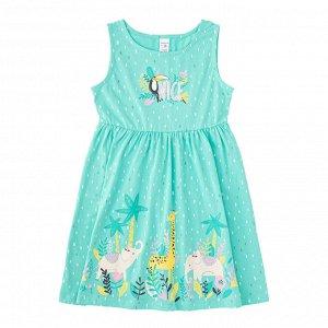 К 5689 к1260 Платье для девочки (насыщенная мята-горошек)