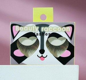 Накладные ресницы с клеем Beauty raccoon, объём 3D