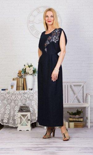 Платье женское Бабочка длинное модель 375/1 темно-синее