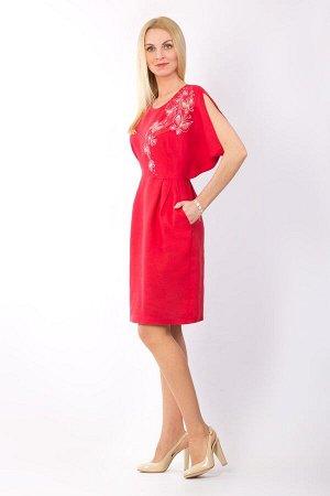 """Платье женское """"Бабочка"""" миди модель 376/3 красное"""