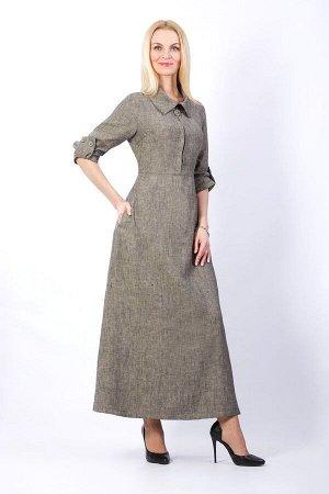 """Платье женское """"Анна"""" длинное модель 310/4 серо-коричневый меланж"""