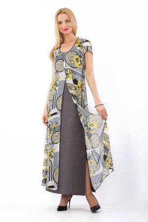 """Платье женское """"Батист"""" двуслойное модель 330 серо-желтые цветы"""