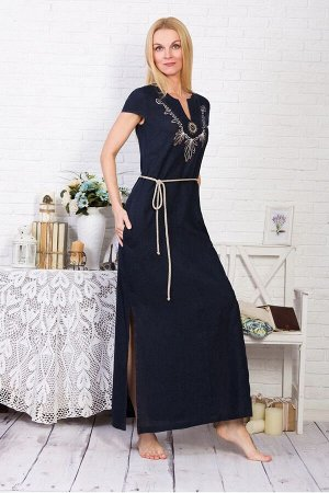 Платье с карманами модель 435/1 темно-синее