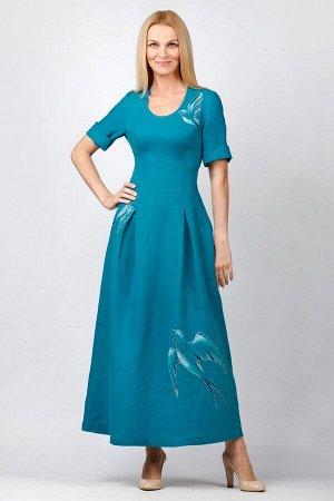 """Платье женское """"NEXT с птицами"""" модель 326/3 темная бирюза"""