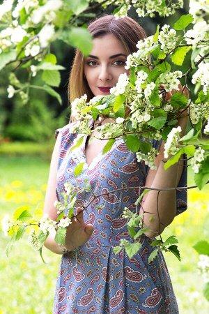 "Платье женское ""Бабочка"" штапель модель 333/2 голубой огурчик"
