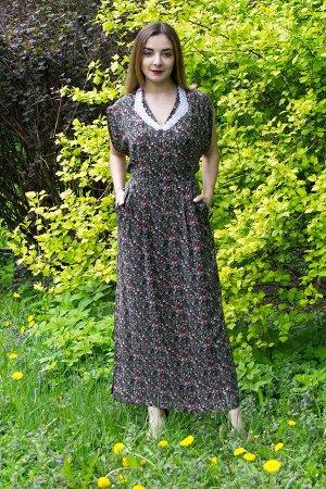"""Платье женское """"Бабочка"""" штапель модель 333/3 зеленые цветочки"""