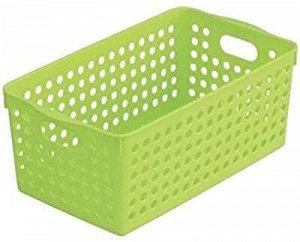 Корзинка квадратная средняя пластиковая зеленая 14,3*25,5*11,3см