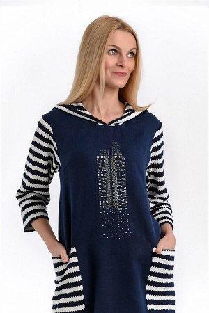 """Платье женское """"Калифорния"""" модель 451/1 тёмно-синий+синяя полоска"""