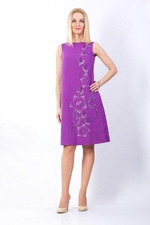Платье женское Дама миди модель 394/1 фиолетовый темный