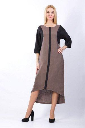 """Платье женское """"Ивет"""" с асимметричным низом модель 319/1 серо-коричневое"""