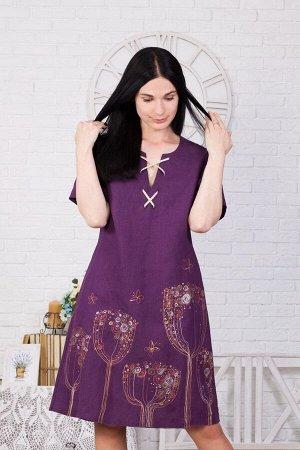 Платье женское Со шнуровкой модель 383/2 фиолетовое