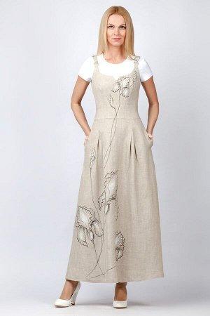 Сарафан женский Натали роспись ирисы модель 412/1 натуральный лен