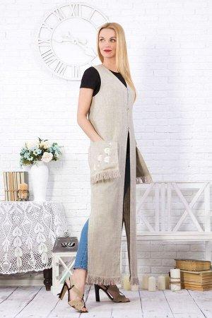 """Жилет женский с бахромой """"Одуванчик"""" длинный модель 828М натуральный лён"""