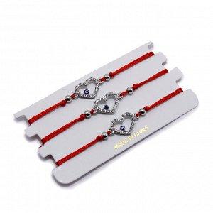 Браслет Silver Красная нить уп-3шт с Сердечком на счастье