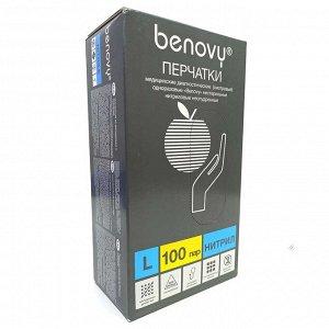 Перчатки нитрил Benovy черные 100 пар L