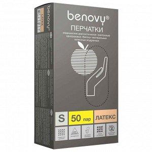 Перчатки латекс Benovy  опудренные 50 пар M, L