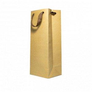 Пакет крафт плотный под бутылку размер 14*35*11см
