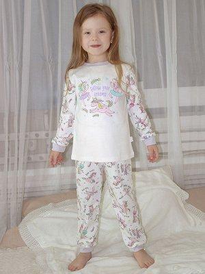 Пижама Количество в упаковке: 1; Артикул: МИЛ-01-100-151; Цвет: Белый; Ткань: Интерлок; Состав: 100% Хлопок; Цвет: Белый Кофта с длинным рукавом. Штанишки-пояс на резинке. Ткань: интерлок 100% хл