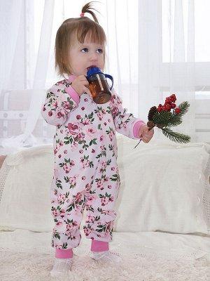 Комбинезон Количество в упаковке: 1; Артикул: МИЛ-01-04-152; Цвет: Розовый; Ткань: Интерлок; Состав: 100% Хлопок; Цвет: Розовый Комбинезон с центральной застежкой, кнопки. Открытые ножки. Ткань: инте