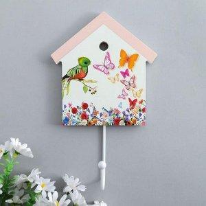 """Крючок декоративный дерево домик """"Цветы, птенчик и бабочки"""" 22,5х13,8х4,5 см 5389475"""