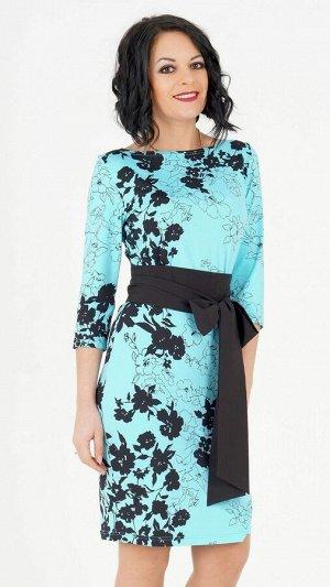 Платье Платье прилегающего силуэта из трикотажного полотна. Вырез горловины лодочка. Открытая спина. Рукава 3/4, длина 42 см. Без подклада. Без застёжки. ДИ в 42-44 р 97 см, в 46-48 р 98 см, в 50-54