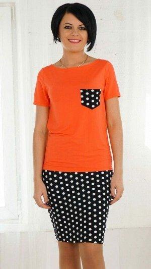 Блуза Блуза из трикотажного полотна. Круглый вырез горловины. Рукав короткий 20 см. Блуза декорирована ярким карманом. Низ асимметричный. ДИ в 42-44 р 60 см, в 46-48 р 61 см, в 50-52 р 62 см. Рост мо