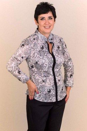 Блуза Блуза свободного силуэта, выполнена из сорочечной ткани. Расцветка пейсли на белом. Воротник стойка. Длинные втачные рукава помогут сохранить тепло и комфорт. Аккуратный покрой блузы позволит на