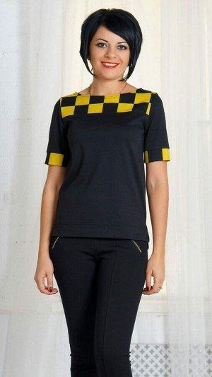 Блуза Блузаиз плотного трикотажного полотна. Круглый вырез горловины. Рукав короткий с манжетой, длина 20 см. Без застёжки. Без подклада. Низ асимметричный. ДИ в 42-44 р 60 см, в 46-48 р 61 см, в 50-