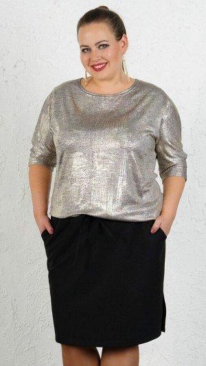 Платье Платье свободного силуэта из трикотажного полотна с напылением металлик и костюмной ткани. Материал верх трикотажное полотно, низ костюмная ткань. Круглый вырез горловины. Рукав 3\4 43 см. Без