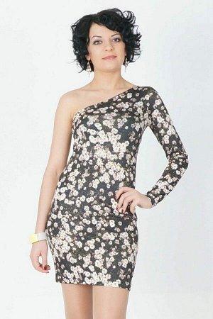 Платье Красивое платье на одно плечё из трикотажного полотна Фоил. Расцветка: ромашки. Рукав на одно плечё длинный Длинна 84 см. в 42 р. Рост модели 164 см., платье 42 размера. Состав полиэстер 100%.