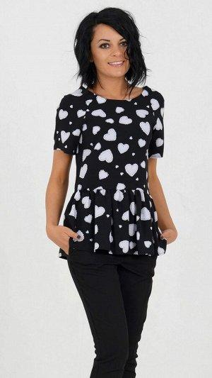 Блуза Блуза из хлопкового полотна. Круглый вырез горловины. Короткийрукав, длина28 см. Низ блузы дополнен баской. Без застёжки. Без подклада. ДИ в 42-44 р 66 см, в 46-48 р 67 см, в 50-54 р 69 см. Ро