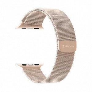 Ремешок Band Mesh для Apple Watch 42/44 mm, нержавеющая сталь, золото, Deppa