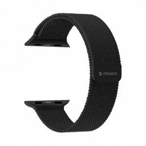 Ремешок Band Mesh для Apple Watch 42/44 mm, нержавеющая сталь, черный, Deppa