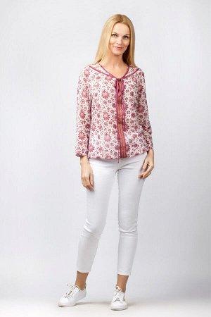 """Блузка женская """"Батистовая на планке"""" модель 121 бордовые цветы"""