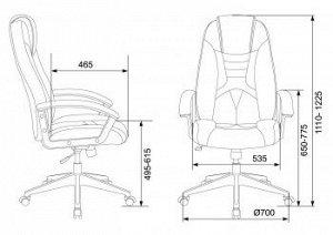 Кресло игровое Бюрократ VIKING-8 черный/оранжевый искусственная кожа крестовина пластик