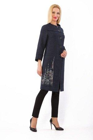 Пальто женское Вильнюс на пуговицах модель 844/1 темно-синее